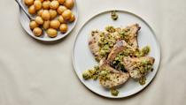 """This briny, bright sauce is just what you need to liven up almost any kind of fish. We like to use Castelvetrano for their rich, buttery flavor, but any olive will work. <a href=""""https://www.bonappetit.com/recipe/swordfish-steaks-with-olive-pistachio-sauce-and-potatoes?mbid=synd_yahoo_rss"""" rel=""""nofollow noopener"""" target=""""_blank"""" data-ylk=""""slk:See recipe."""" class=""""link rapid-noclick-resp"""">See recipe.</a>"""