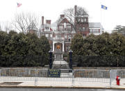 Exterior view of the New York state Executive Mansion with security fencing around the sidewalk prior to a President Trump protest rally ahead of the inauguration of President-elect Joe Biden and Vice President-elect Kamala Harris Sunday, Jan. 17, 2021, in Albany, N.Y. (AP Photo/Hans Pennink)