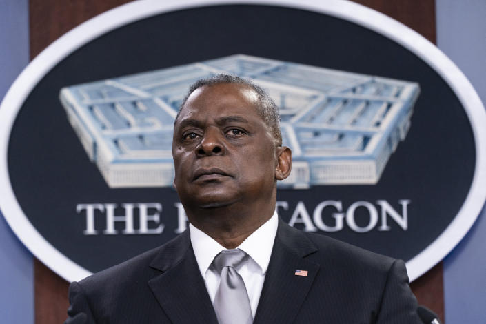 Secretary of Defense Lloyd Austin listens to a question as he speaks during a media briefing at the Pentagon, Friday, Feb. 19, 2021, in Washington. (AP Photo/Alex Brandon)