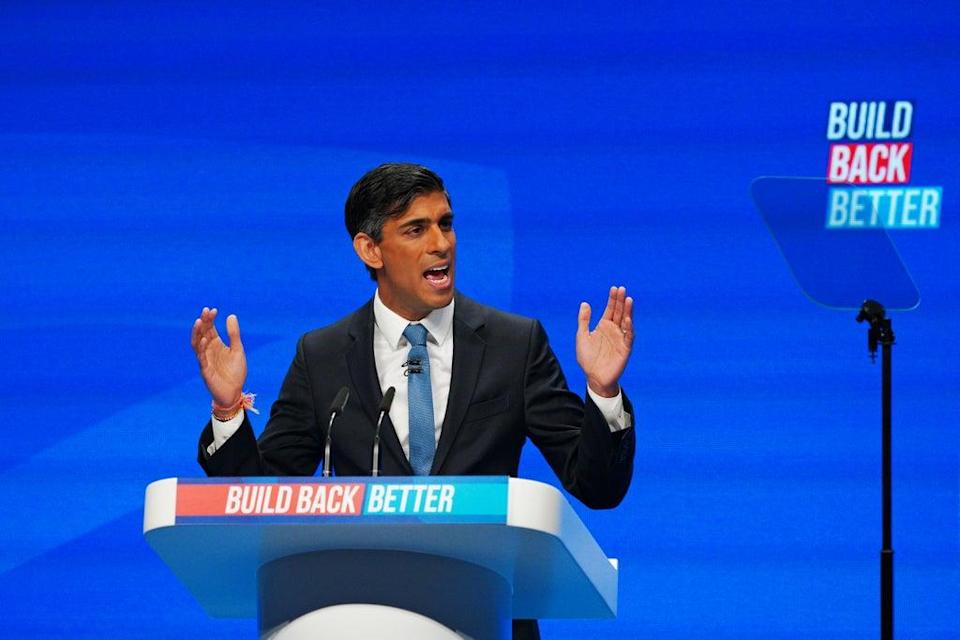 Chancellor Rishi Sunak speaking at the Conservative Party conference in Manchester (Peter Byrne/PA) (PA Wire)
