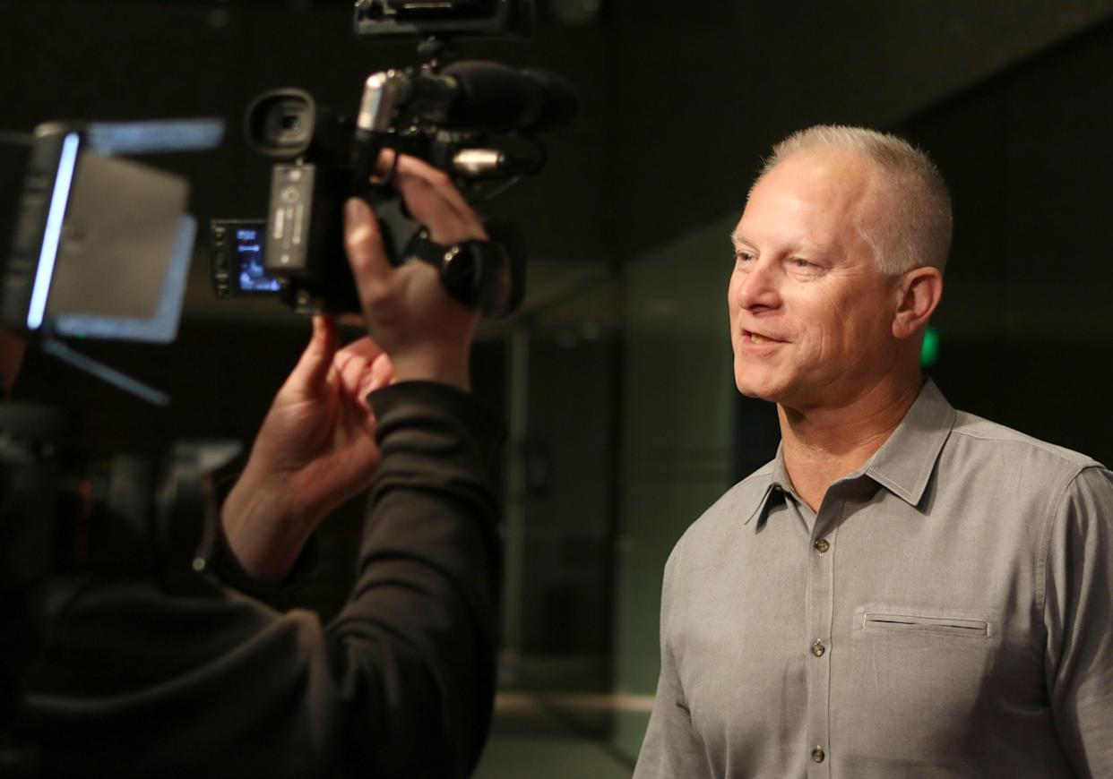 LOS ANGELES, CA - NOVEMBER 01:  Comedian Kenny Mayne being interviewed on the red carpet at the screening of go90's