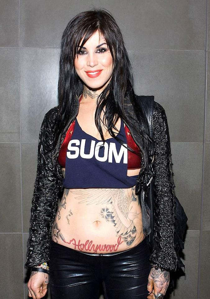 "We get it, Kat Von D. You're an exhibitionist. Now, do us all a favor, and go put on a real shirt ... and stop trying so hard. Chelsea Lauren/<a href=""http://www.wireimage.com"" target=""new"">WireImage.com</a> - April 7, 2009"