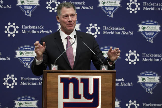 File- This Jan. 26, 2018, file photo shows Pat Shurmur speaking after being introduced as head coach of the New York Giants during an NFL football news conference, in East Rutherford , N.J. The Giants fired Shurmur on Monday, Dec. 30, 2019, just two years into a five-year contract, the Daily News has confirmed. (AP Photo/Julio Cortez, File)