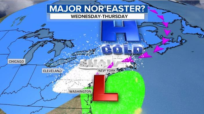 Depiction of Wednesday night as heavy snow falls from the major I-95 cities west and north. Some of the snow will be mixed with rain and sleet along the coast. / Credit: CBS News