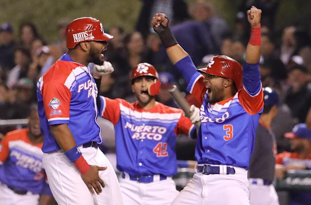 The Puerto Rican team celebrates during the Caribbean Series on Thursday night. (Getty Images)