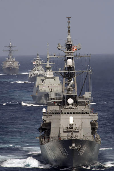 File photo taken in September 2007 shows Japan Maritime Self-Defense Force destroyer JS Yuudachi (DD 103) during the Malabar Exercise in the Bay of Bengal (AFP Photo/)