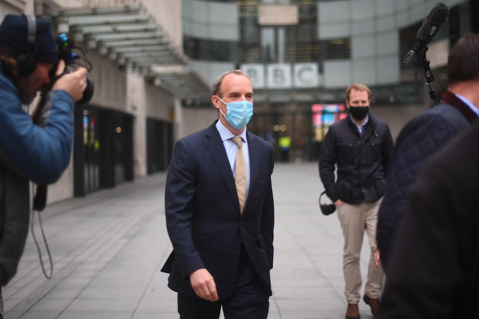 Foreign Secretary Dominic Raab speaks to the media outside BBC Broadcasting House in central London after his appearance on the BBC1 current affairs programme, The Andrew Marr Show. (Photo by Victoria Jones/PA Images via Getty Images)