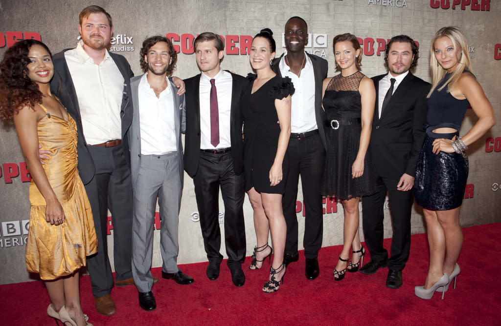 "The cast of ""Copper"" attends the premiere at The Museum of Modern Art on August 15, 2012 in New York City."