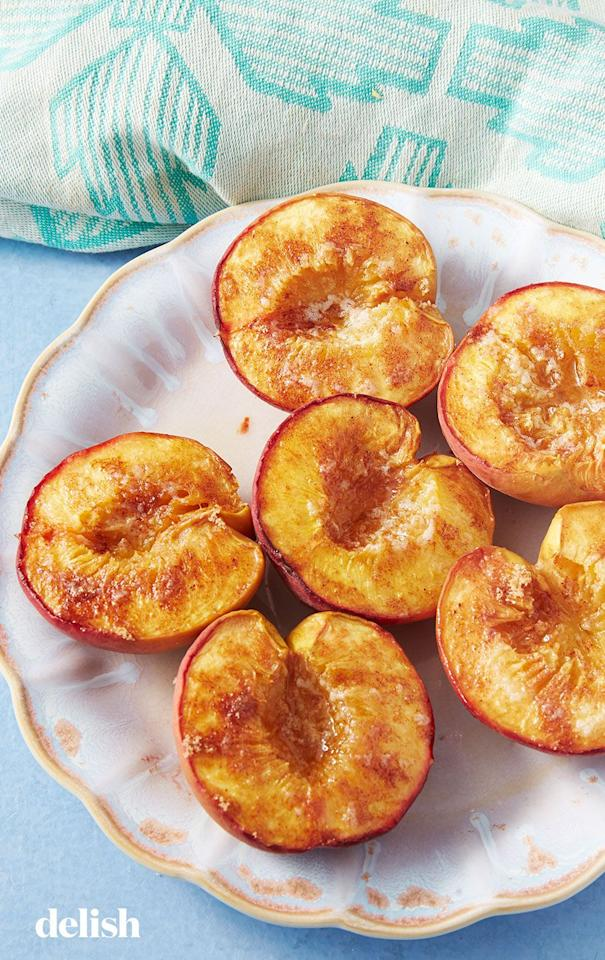 "<p>These baked peaches are roasted low and slow to bring out all their natural sweetness. That means, even if your peaches aren't perfectly ripe, they'll still be super delicious. </p><p>Get the <a href=""https://www.delish.com/uk/cooking/recipes/a29954651/baked-peaches-recipe/"" target=""_blank"">Baked Peaches</a> recipe. </p>"