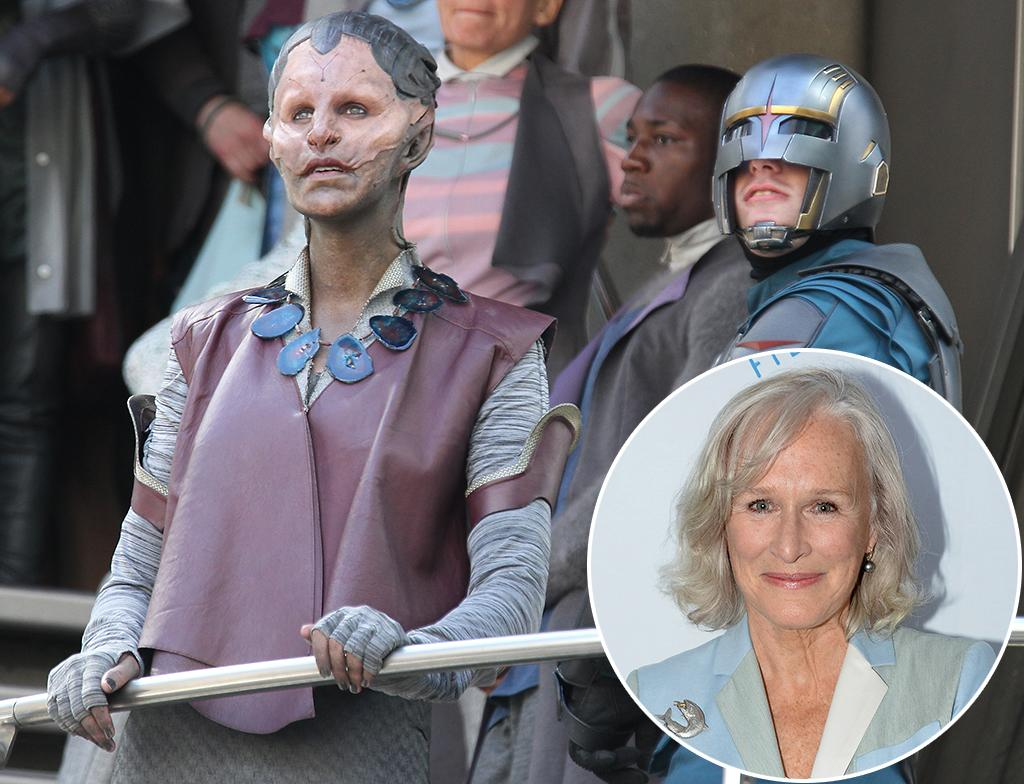 "LONDON, UNITED KINGDOM - AUGUST 11: Glenn Close ( L ) sighting in full make-up filming scenes for ""Guardians of the Galaxy"" on August 11, 2013 in London, England. (Photo by Simon James/FilmMagic)"