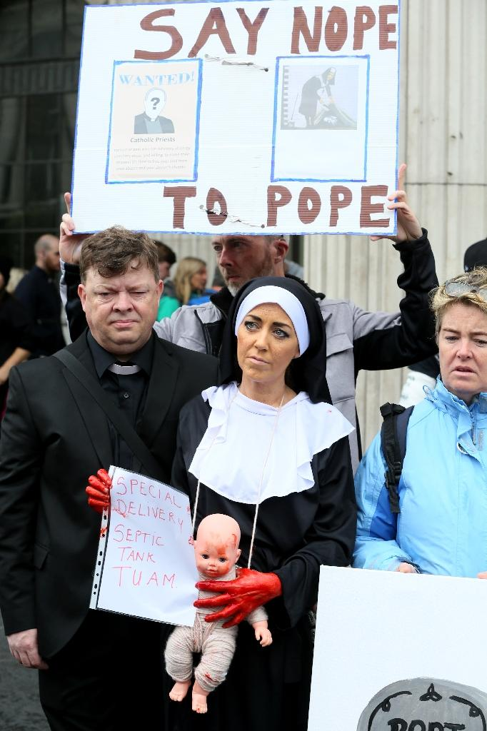 Protestors against clerical abuse and the visit of Pope Francis gather at the General Post Office (GPO) in Dublin, calling for gay and trans gender recognition by the Catholic Church among other demands