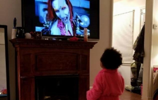 Her father added an image of young Ariel looking captivated as she watches Marilyn Manson on TV. Source: GoFundMe