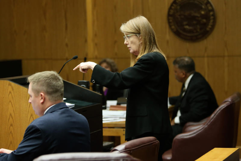 FILE - In this file photo from July 30, 2018 shows Douglas County Chief Assistant District Attorney Amy McGowan  during a murder trial in Douglas County District Court in Lawrence, Kan.  McGowan is retiring amid calls for her to step down after a Missouri judge overturned the double murder conviction of a man whom she helped send to prison more than two decades ago. (Amy McGowan Lawrence Journal-World via AP)