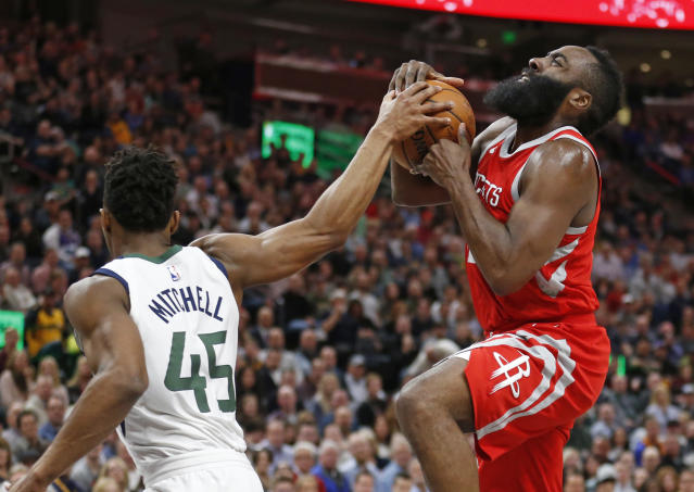 "Jazz rookie <a class=""link rapid-noclick-resp"" href=""/nba/players/5826/"" data-ylk=""slk:Donovan Mitchell"">Donovan Mitchell</a> has been tasked with defending Rockets star James Harden. (AP)"