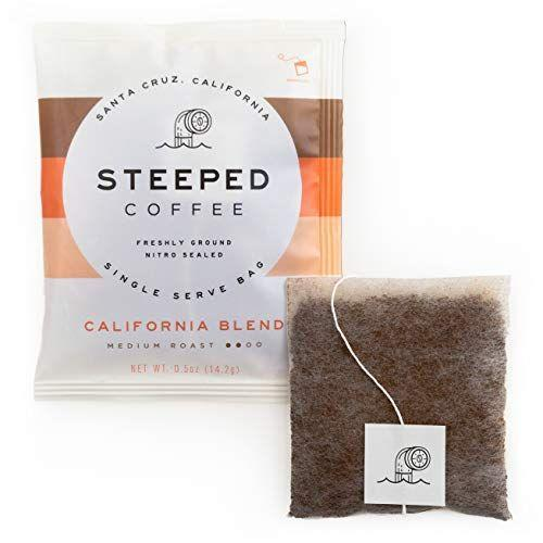 """<p><strong>Steeped Coffee</strong></p><p>amazon.com</p><p><strong>$15.95</strong></p><p><a href=""""https://www.amazon.com/dp/B085FV53G4?tag=syn-yahoo-20&ascsubtag=%5Bartid%7C10055.g.32403995%5Bsrc%7Cyahoo-us"""" rel=""""nofollow noopener"""" target=""""_blank"""" data-ylk=""""slk:Shop Now"""" class=""""link rapid-noclick-resp"""">Shop Now</a></p><p>Open a packet of this instant coffee and you might think you accidentally tore into a pack of Earl Grey. This single-serve specialty coffee comes in tea-like bags that yep, you guessed it — steep in hot water like tea. Our tasters loved the slightly nutty, citrusy flavor of the California Blend medium roast, but you should try the well-balanced Odyssey Blend if you prefer dark roast. To enjoy your café without the caffeine, their Eventide Decaf option is single origin and boasts mellow flavor with low acidity and hints of molasses.</p>"""