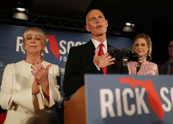 PHOTO: Florida Governor Rick Scott speaks during his election night party at the LaPlaya Beach & Golf Resort on Nov. 06, 2018 in Naples, Fla. (Joe Raedle/Getty Images)