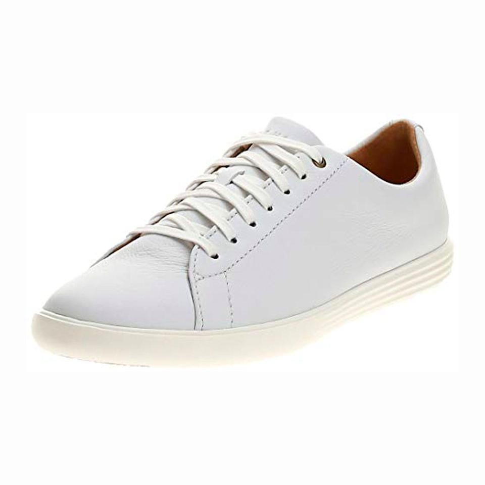 """<p><strong>Cole Haan</strong></p><p>amazon.com</p><p><strong>$59.97</strong></p><p><a href=""""https://www.amazon.com/dp/B073K3GDM4?tag=syn-yahoo-20&ascsubtag=%5Bartid%7C2139.g.36132587%5Bsrc%7Cyahoo-us"""" rel=""""nofollow noopener"""" target=""""_blank"""" data-ylk=""""slk:BUY IT HERE"""" class=""""link rapid-noclick-resp"""">BUY IT HERE</a></p><p><a href=""""https://www.menshealth.com/style/a19521820/white-sneakers-for-men/"""" rel=""""nofollow noopener"""" target=""""_blank"""" data-ylk=""""slk:White leather sneakers"""" class=""""link rapid-noclick-resp"""">White leather sneakers</a> might be simple, but a good pair completes any outfit. Amazon has a great deal today on this stylish pair from Cole Haan. The slim silhouette will look good with <a href=""""https://www.menshealth.com/style/a19546067/25-best-jeans-for-men/"""" rel=""""nofollow noopener"""" target=""""_blank"""" data-ylk=""""slk:jeans"""" class=""""link rapid-noclick-resp"""">jeans</a>, shorts, and <a href=""""https://www.menshealth.com/style/a19541488/chinos/"""" rel=""""nofollow noopener"""" target=""""_blank"""" data-ylk=""""slk:chinos"""" class=""""link rapid-noclick-resp"""">chinos</a>, while the leather exterior will give your outfit some curb appeal. </p>"""