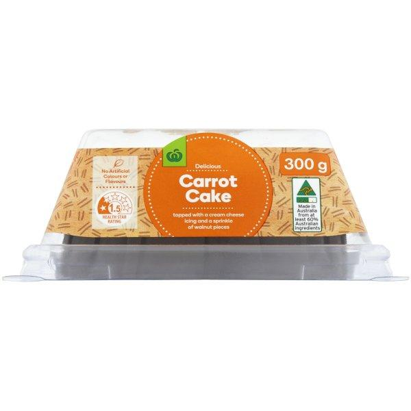 Woolie's Carrot Cake has been revealed to be extremely light on the carrots. Photo: Woolworths
