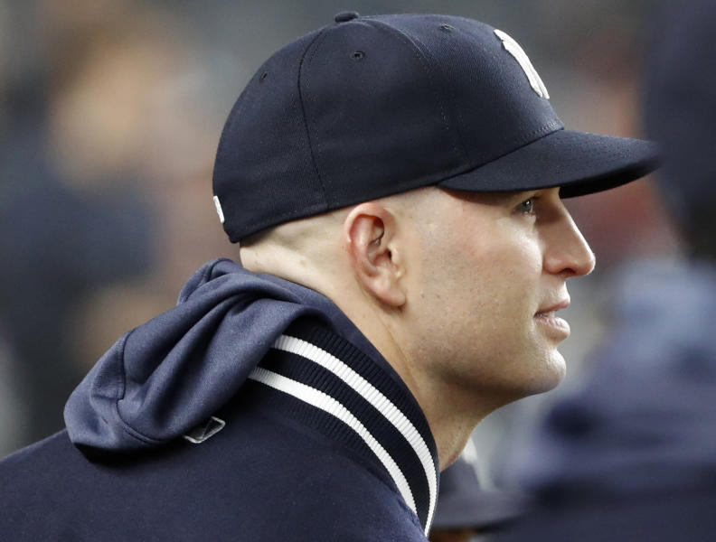 Injured New York Yankees pitcher James Paxton watches from the dugout during a baseball game against the Seattle Mariners, Monday, May 6, 2019, in New York. (AP Photo/Kathy Willens)