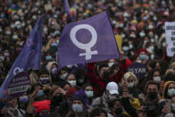 Protesters gather during a rally in Istanbul, Saturday, March 2021, 2021. Turkey's President Recep Tayyip Erdogan's overnight decree annulling Turkey's ratification of the Istanbul Convention is a blow to women's rights advocates, who say the agreement is crucial to combating domestic violence. Turkey was the first country to sign 10 years ago and that bears the name of its largest city. (AP Photo/Emrah Gurel)