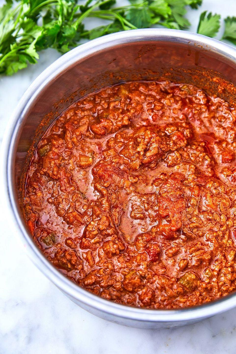 """<p>Bolognese is so much more than just a meat sauce. It's the ultimate way to transform a package of minced beef into something show-stopping. When the temperature starts to drop, what sounds better than pasta smothered in rich, hearty, umami-bomb bolognese? NOTHING.</p><p>Get the <a href=""""https://www.delish.com/uk/cooking/recipes/a29755014/bolognese-sauce-recipe/"""" rel=""""nofollow noopener"""" target=""""_blank"""" data-ylk=""""slk:Bolognese"""" class=""""link rapid-noclick-resp"""">Bolognese</a> recipe.</p>"""
