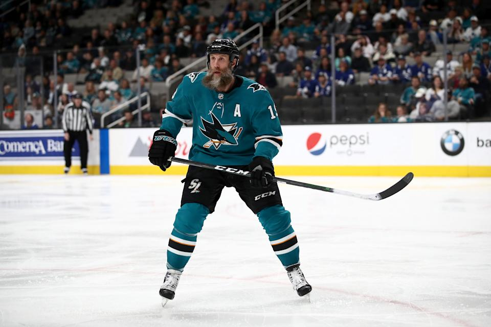 SAN JOSE, CALIFORNIA - MARCH 03:   Joe Thornton #19 of the San Jose Sharks in action against the Toronto Maple Leafs at SAP Center on March 03, 2020 in San Jose, California. (Photo by Ezra Shaw/Getty Images)