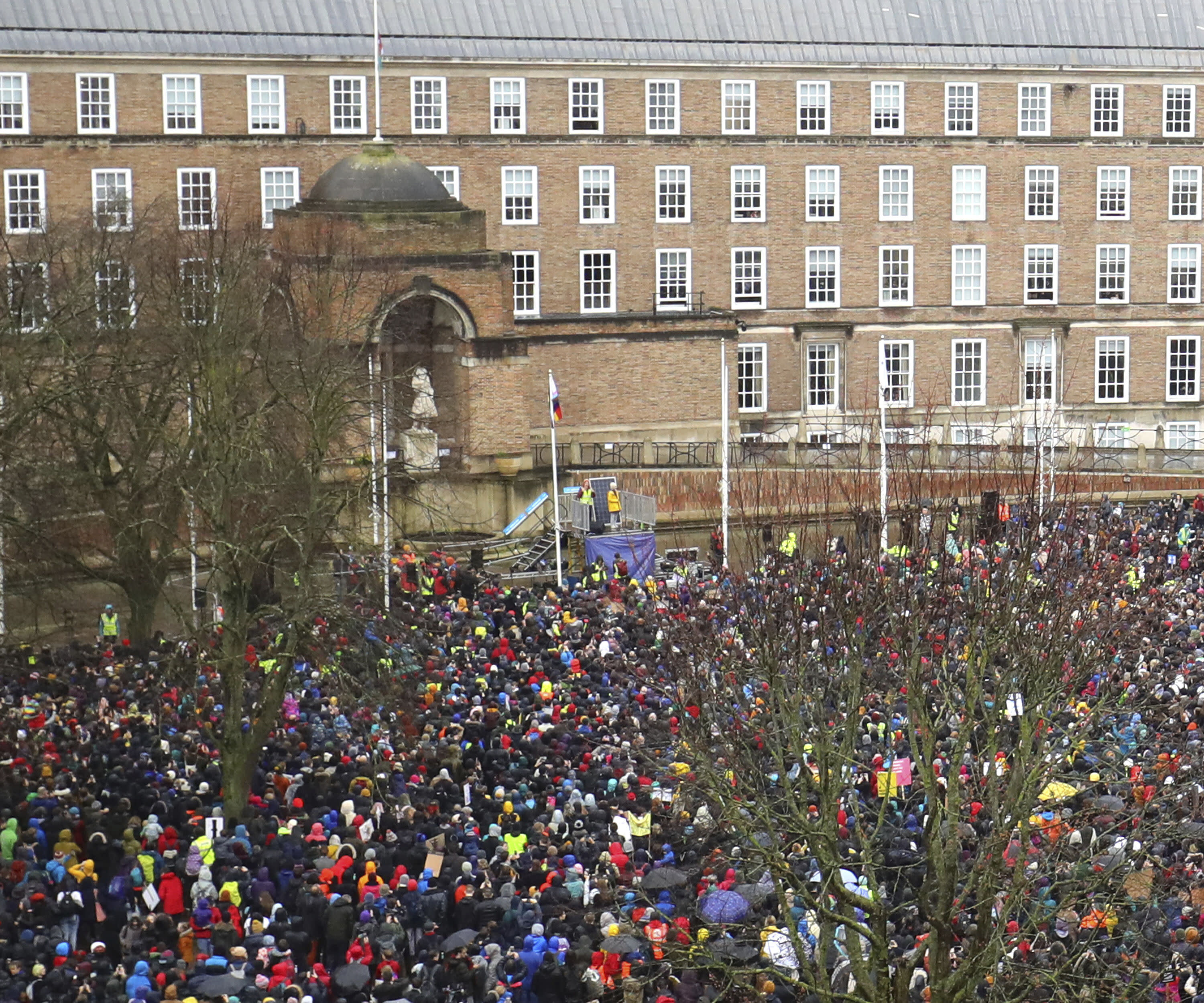 Greta Thunberg takes to the stage as environmental activists gather for the Bristol Youth Strike 4 Climate protest at College Green in Bristol, England, Friday, Feb. 28, 2020. (Aaron Chown/PA via AP)