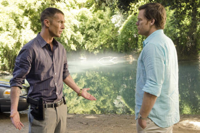 "Desmond Harrington as Joey Quinn and Michael C. Hall as Dexter Morgan in the ""Dexter"" Season 8 episode, ""What's Eating Dexter Morgan?"""