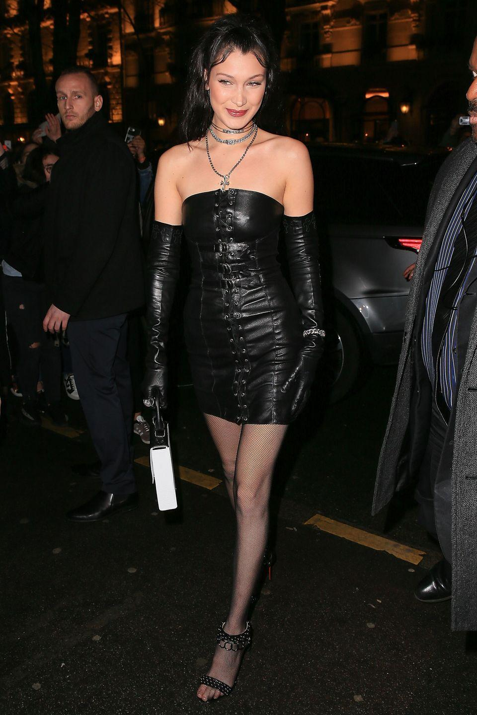 <p>In a look from her own collaboration with Chrome Hearts and Christian Louboutin heels while out in Paris.</p>