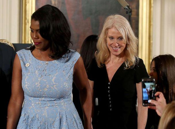 PHOTO: Counselor to the President Kellyanne Conway and Omarosa Manigault, left, attend an event celebrating Women's History Month, in the East Room at the White House, March 29, 2017, in Washington, DC. (Mark Wilson/Getty Images)