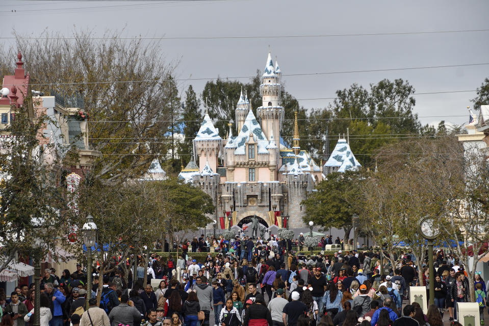 ANAHEIM, CA - JANUARY 07: A fence surrounds Sleeping Beauty Castle during the first day of a $300,000, extensive castle refurbishment at Disneyland in Anaheim, CA, on Monday, Jan 7, 2019.  the work will continue through the spring. The refurbishment will not change the castle significantly.. (Photo by Jeff Gritchen/Digital First Media/Orange County Register via Getty Images)