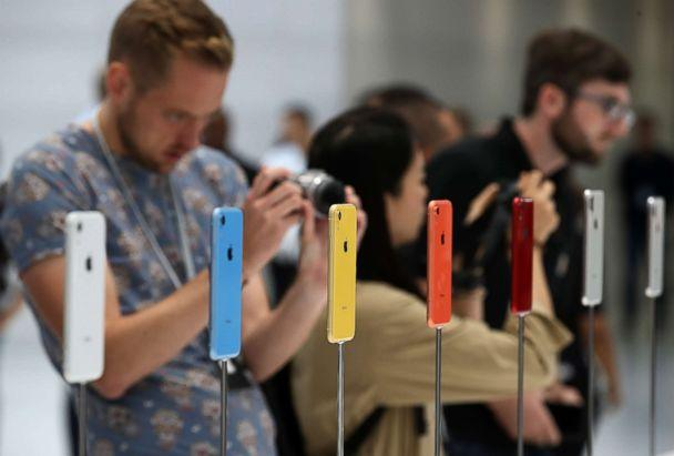 PHOTO: The new Apple iPhone XR is displayed during an Apple special event at the Steve Jobs Theatre on Sept. 12, 2018 in Cupertino, Calif. (Justin Sullivan/Getty Images)