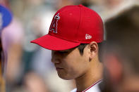 American League's Shohei Ohtani, of the Los Angeles Angeles, watches warms-up during batting practice for the MLB All-Star baseball game, Monday, July 12, 2021, in Denver. (AP Photo/Gabriel Christus)