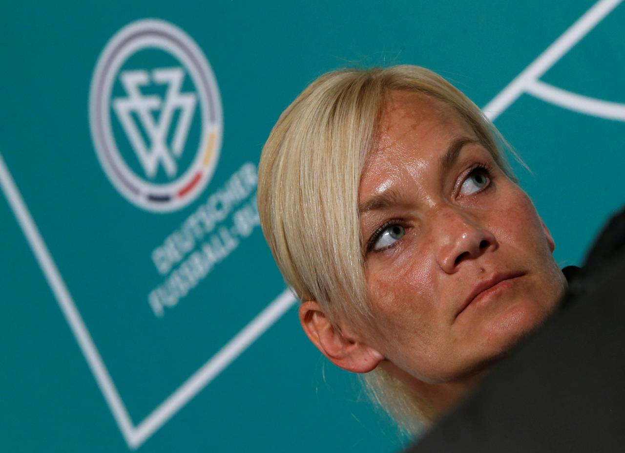 Bibiana Steinhaus, first female referee in the German Bundesliga, from the upcoming season on, holds a news conference in Grassau, Germany July 5, 2017. REUTERS/Michaela Rehle