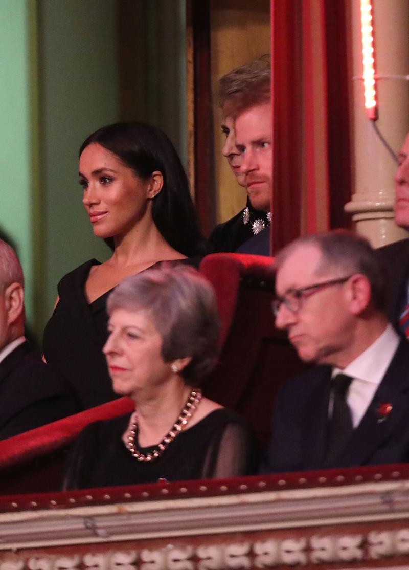 LONDON, ENGLAND - NOVEMBER 10: Prince Harry, Duke of Sussex, Meghan, Duchess of Sussex with Prime Minister Theresa May and husband Philip May attend the Royal British Legion Festival of Remembrance at the Royal Albert Hall on November 10, 2018 in London, England. The Queen and members of the Royal Family are attending the annual Festival of Remembrance to commemorate all those who have lost their lives in conflicts and will mark 100 years since the end of the First World War. (Photo by Chris Jackson/Getty Images)