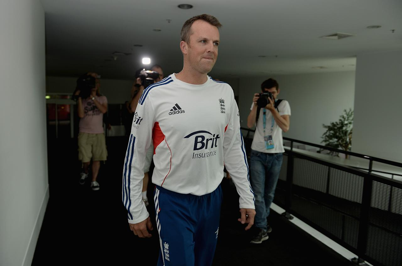MELBOURNE, AUSTRALIA - DECEMBER 22:  Graeme Swann of England arrives at a press conference to announce his retirement from all forms of cricket at Melbourne Cricket Ground on December 22, 2013 in Melbourne, Australia.  (Photo by Gareth Copley/Getty Images)
