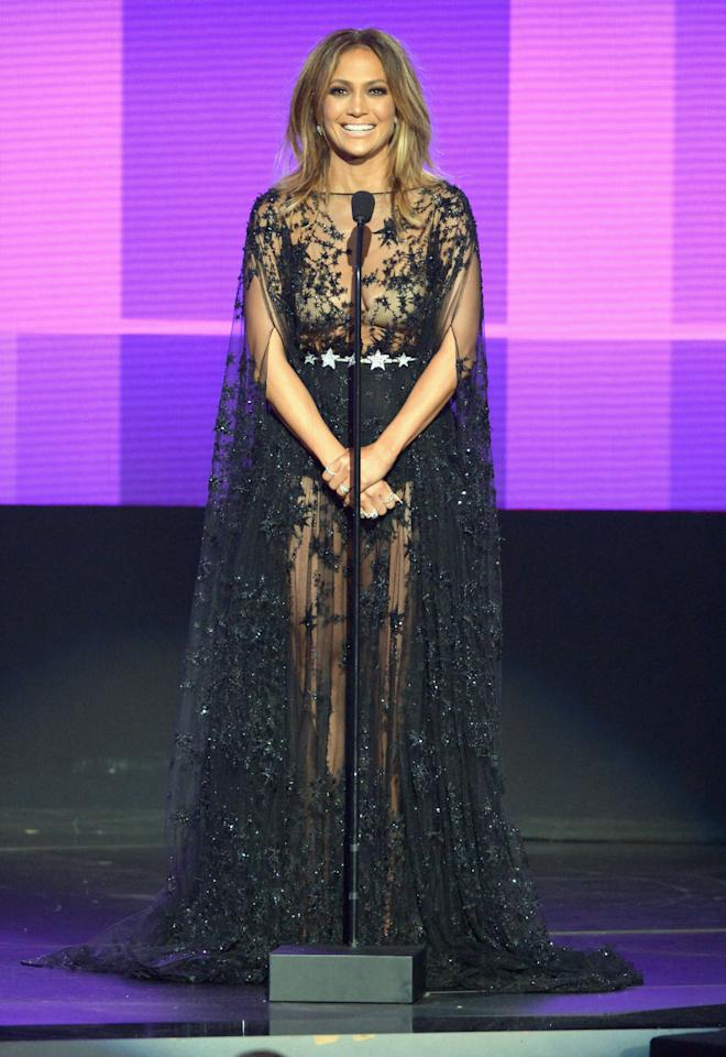 <p>Seems as if capes were trending for J.Lo this evening. The singer naturally had to wear a piece from one of her favorite designers, Zuhair Murad, and this gorgeous gown was certainly a showstopper.</p><p><i>Photo: Getty</i></p>
