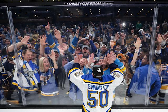 Jordan Binnington #50 of the St. Louis Blues celebrates with fans after defeating the Boston Bruins in Game Seven to win the 2019 NHL Stanley Cup Final at TD Garden on June 12, 2019 in Boston, Massachusetts. (Photo by Patrick Smith/Getty Images)
