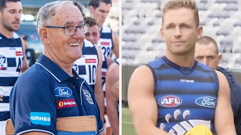 A tribute to Geelong club favourite Vic Fuller was lead by Cats captain Joel Selwood on Tuesday, following the 79-year-old's tragic death while at the club on Monday. Pictures: Twitter/Geelong Cats/Wide World of Sport
