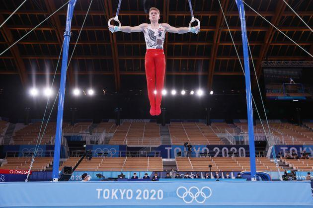 Shane Wiskus of Team USA, who said he doesn't mind the crowdless factor, competes on rings during men's qualification at the 2020 Olympic Games at Ariake Gymnastics Center. (Photo: Jamie Squire via Getty Images)