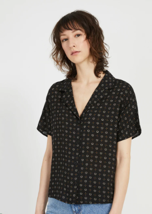 The Everyday Camp Collar Blouse in True Black