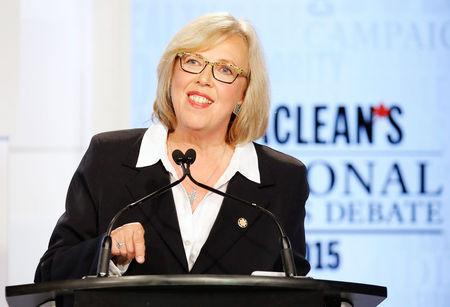 Canada's Green Party leader Elizabeth May speaks during the Maclean's National Leaders debate in Toronto
