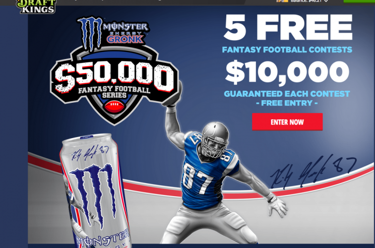 Monster Energy ad with Patriots star Rob Gronkowski on DraftKings web site last year