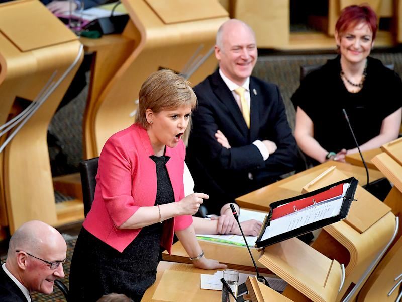 Nicola Sturgeon in the Scottish Parliament today: Getty