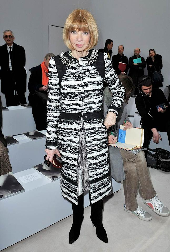 "The Queen of Style, <i>Vogue</i> editor Anna Wintour, was as chic as usual at Celine. Dominique Charriau/<a href=""http://www.wireimage.com"" target=""new"">WireImage.com</a> - March 7, 2010"