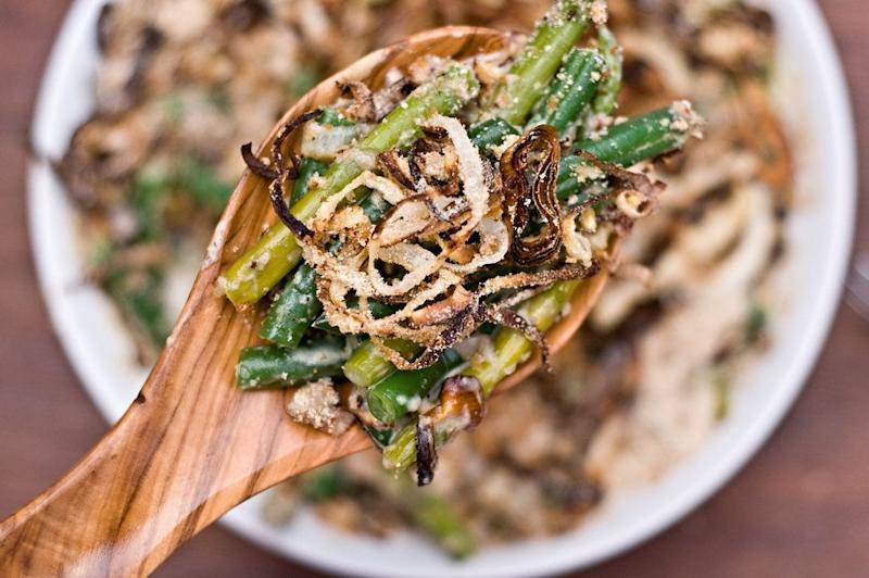 "<strong>Get the <a href=""http://domesticfits.com/2011/11/14/homemade-green-bean-cassrole-the-grown-up-food-lovers-version/"">Grown Up Homemade Green Bean Casserole recipe from Domestic Fits</a></strong>"