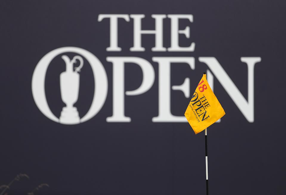 The Open signage on the 18th during day one of The Open Championship 2019 at Royal Portrush Golf Club.