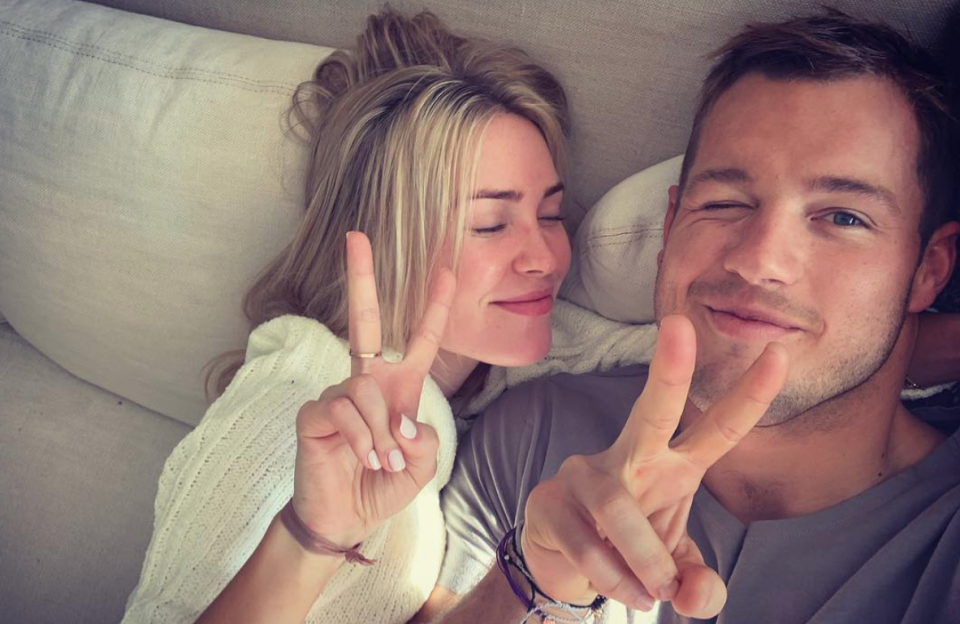 Colton Underwood shows his support of Cassie Randolph's YouTube channel, so long as it covers topics such as himself and food. (Photo: Instagram)