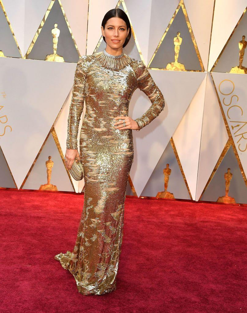 """<p>Jessica Biel in Kaufmanfranco gown. Note her <a href=""""https://www.townandcountrymag.com/style/jewelry-and-watches/g14456549/jewelry-awards-2017/?slide=1"""" rel=""""nofollow noopener"""" target=""""_blank"""" data-ylk=""""slk:one-of-a-kind Tiffany necklace"""" class=""""link rapid-noclick-resp"""">one-of-a-kind Tiffany necklace</a>.</p>"""