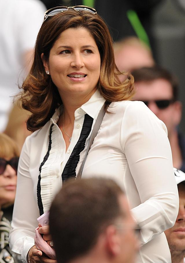 Mirka Federer, wife of Switzerland's Roger Federer in the Royal Box on Center Court before his third round men's singles match against France's Julien Benneteau on day five of the 2012 Wimbledon Championships tennis tournament at the All England Tennis Club in Wimbledon, southwest London, on June 29, 2012. AFP PHOTO / LEON NEAL RESTRICTED TO EDITORIAL USELEON NEAL/AFP/GettyImages